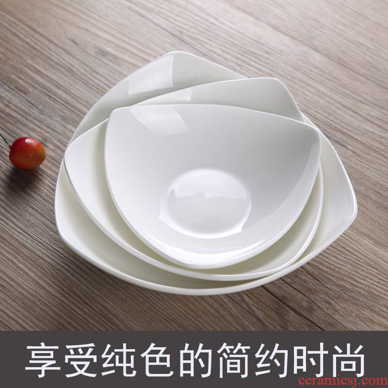 The New alien jingdezhen ceramic tableware pure white 678 inch triangle snack compote hotel customization