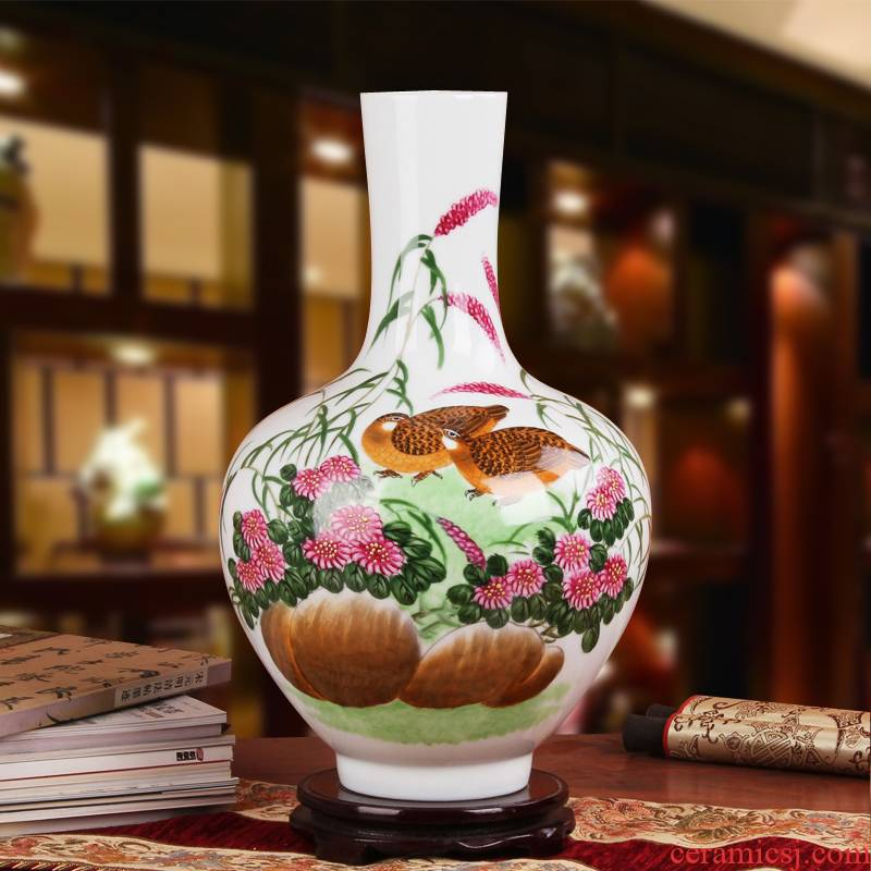 Hu, high - grade gift porcelain vase hand - made works of jingdezhen ceramics quail tree
