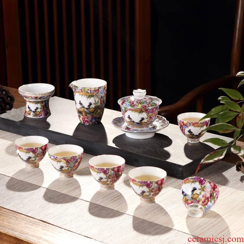Jingdezhen porcelain enamel famille rose porcelain tureen kung fu tea set gift teapot set antique tea cups