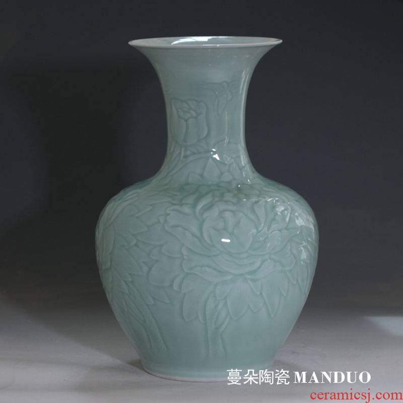 Mesa of contracted anaglyph peony vase elegant monochromatic celadon peony vases carved 40-50 cm tall vases