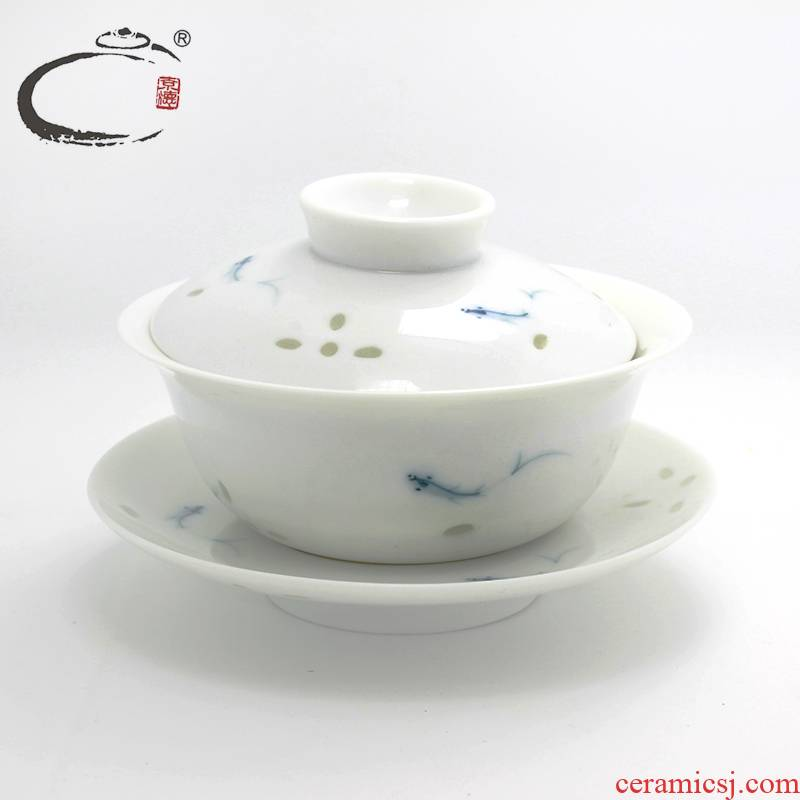 And auspicious And exquisite tureen tea hollow out them big tureen jingdezhen blue And white tureen large hand - made thin body of tea