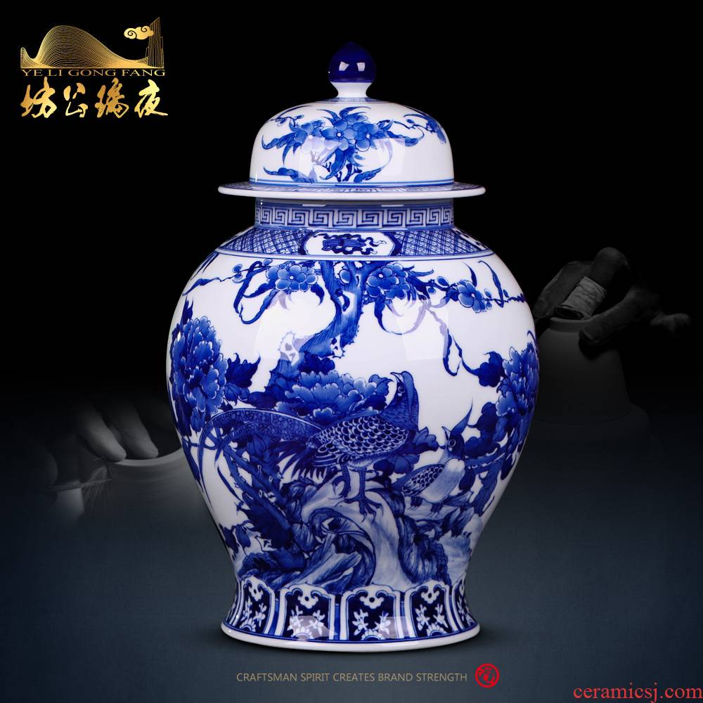 Jingdezhen ceramics furnishing articles antique blue and white porcelain painting of flowers and storage tank home sitting room ark adornment ornament