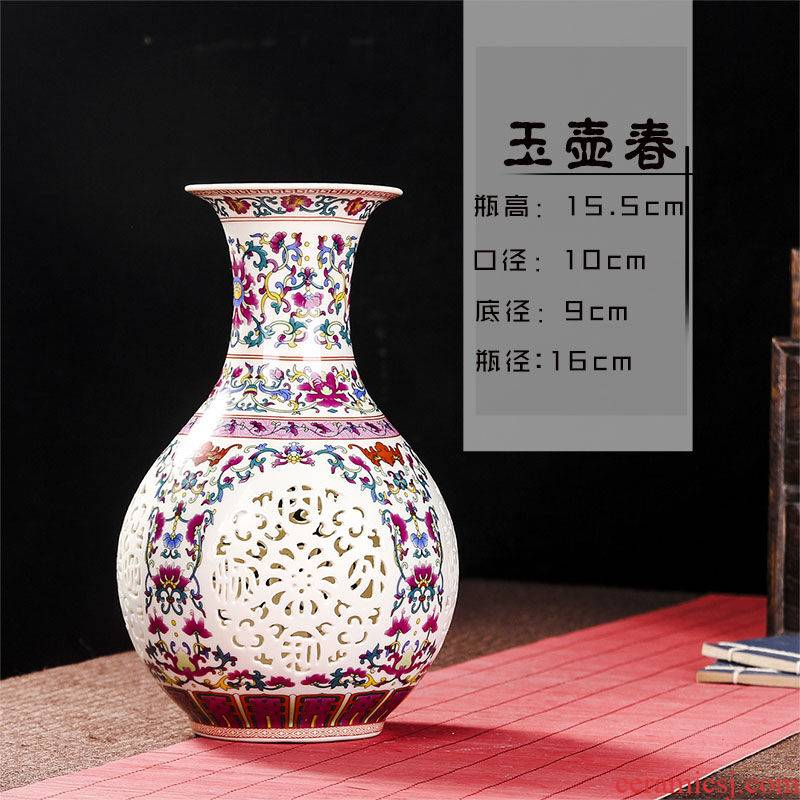Jingdezhen ceramics household wine ark, adornment handicraft sitting room place, TV ark, study of single - layer hollow out the vase
