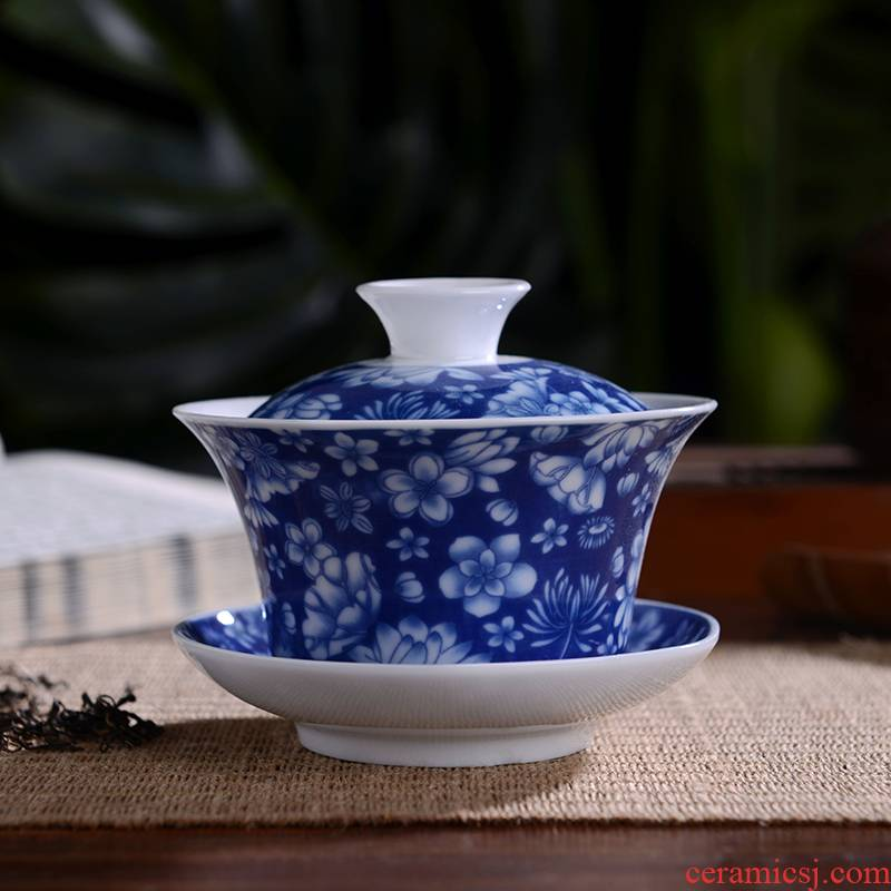 Only three bowl of tea tea set large jingdezhen blue and white porcelain tureen checking ceramic kung fu tea set to use