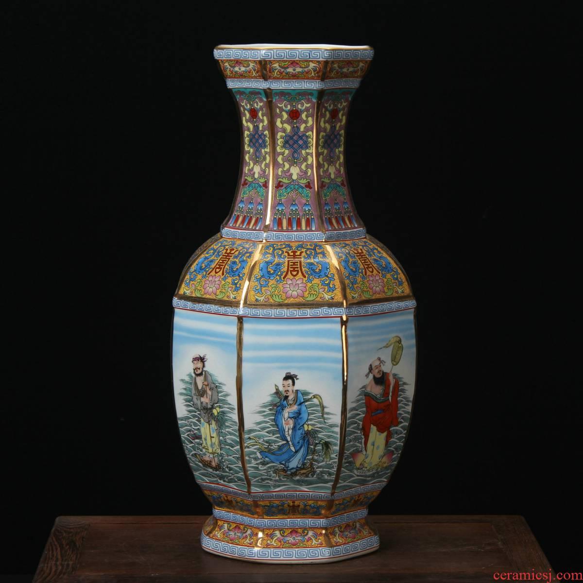 Jingdezhen ceramics enamel vase pastel colored antique furnishing articles - party when the ensemble six bottles of Chinese art deco