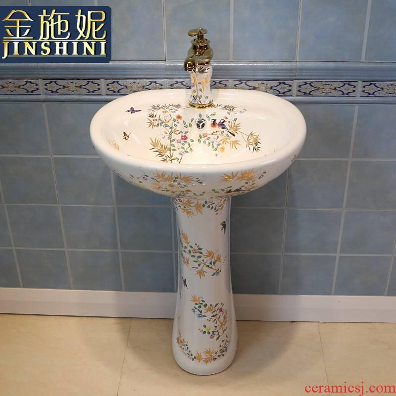 Gold cellnique art pillar basin ceramic lavatory basin contracted STDS hand one - piece modern flowers and birds