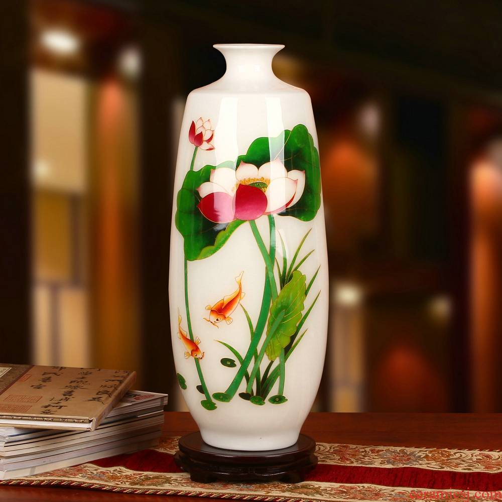 Jingdezhen ceramics white gold fish straw lotus vase with modern Chinese rural household adornment furnishing articles