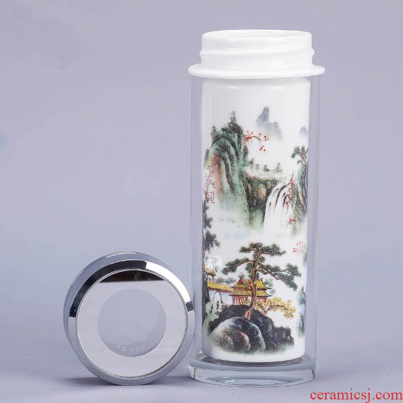 Jingdezhen ceramic vacuum double - layer cup with straight cup water cup men 's cup office keller cup 330 ml