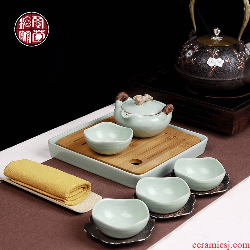 Your up ceramic kung fu tea set 4 people travel to carry tea sample tea cup I and contracted household cup teapot
