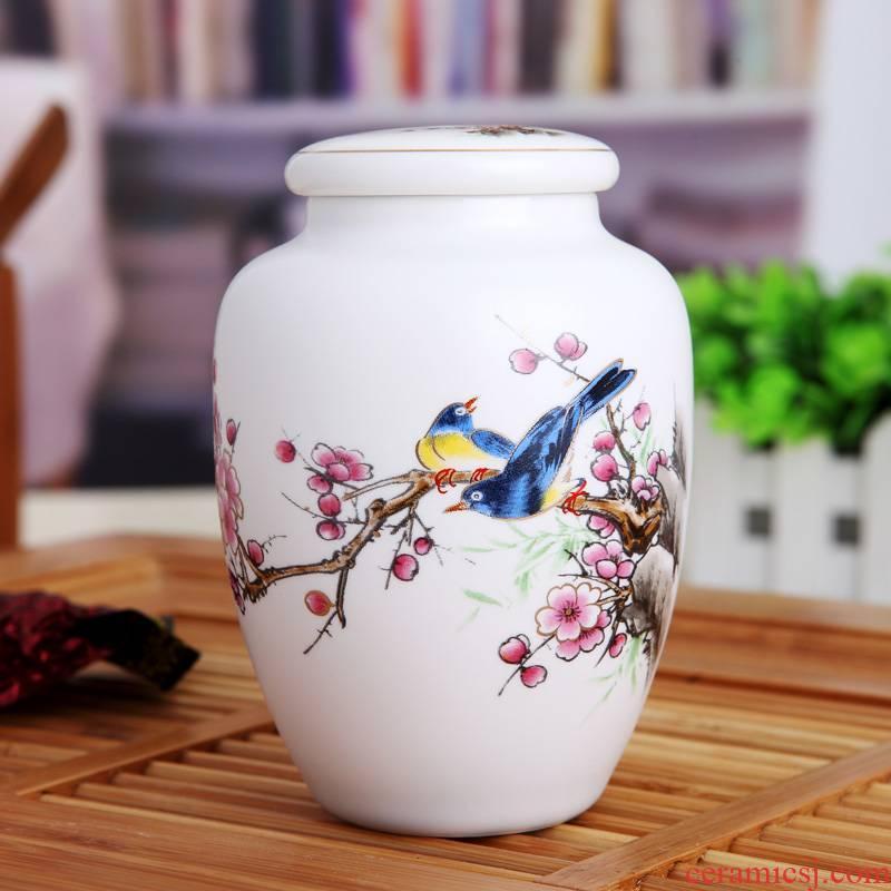 Jingdezhen fine ceramic tea pot individual small sealed jar storage tank much money home office design