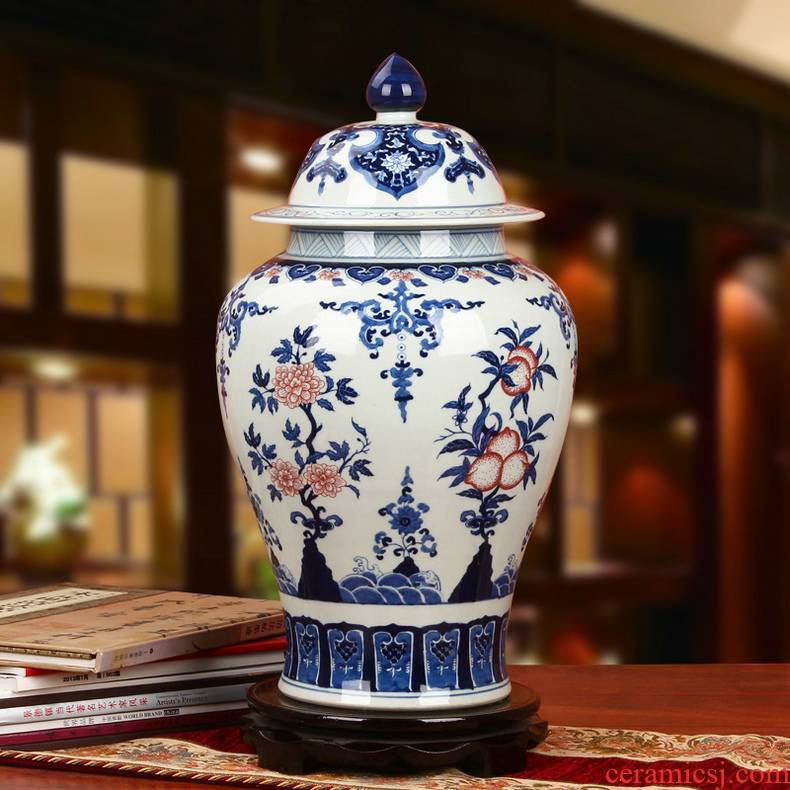 Jingdezhen ceramics hand - made youligong peach pomegranate flower grain general canister to Chinese classical furnishing articles