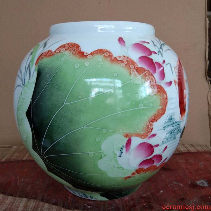 Jingdezhen spherical decorative vase hand - made lotus red carp porcelain vases spherical 30 cm tall vases