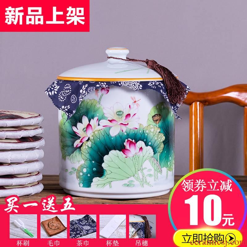 Caddy fixings ceramic seal storage POTS of household ceramic tea pot bulk large white porcelain tea cake storage tanks