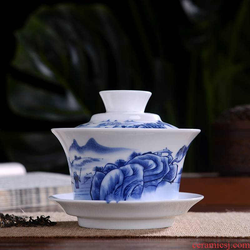 Jingdezhen blue and white porcelain kung fu tea tea bowl three only bowl of tea large manual of ceramic bowl