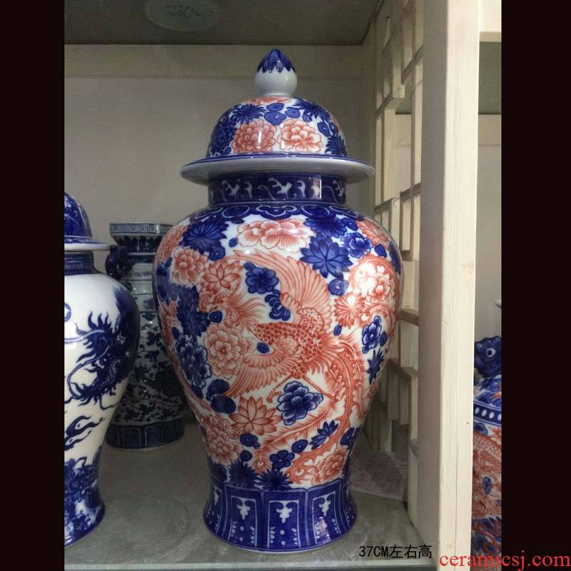 Jingdezhen blue and white longfeng hand made porcelain, general porcelain pot youligong longfeng texture art general tank