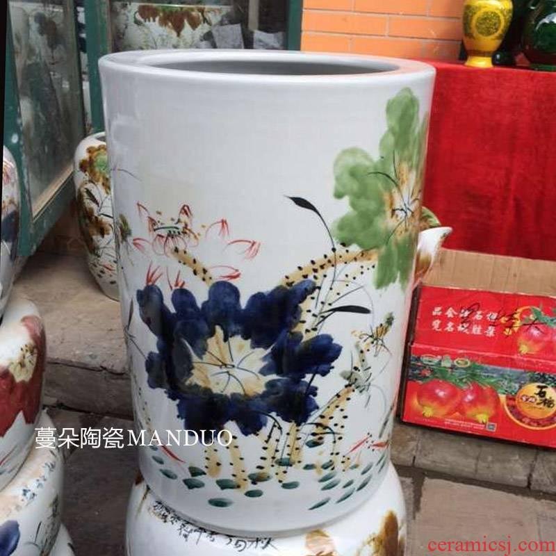 Jingdezhen hand - made art receive flower decoration decoration quiver study calligraphy and painting quiver practical porcelain vase