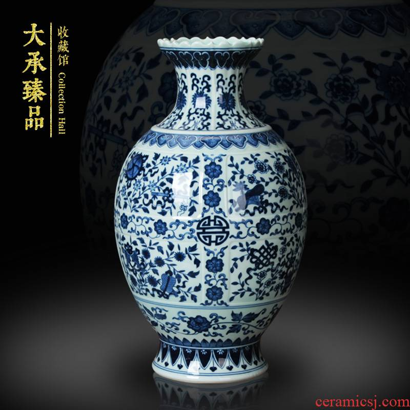 Jingdezhen ceramics hand archaize sweet stripes of blue and white porcelain vase vase m letters treasure cabinet furnishing articles decoration carving