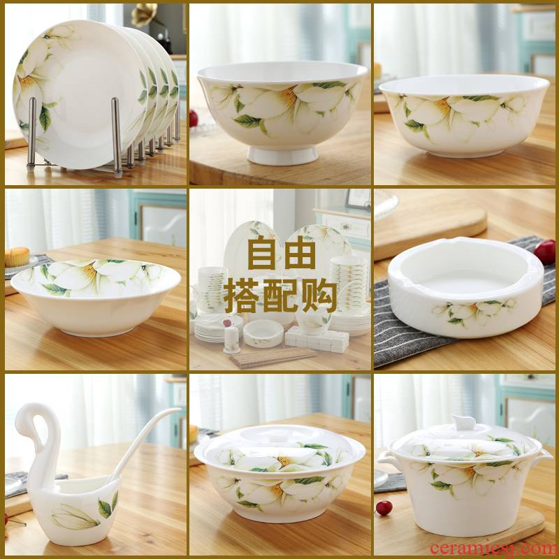 Jingdezhen ceramic ipads China tableware set small bowl of rice bowl bowl rainbow such as bowl of soup pot small spoon tablespoons of pan fish dish