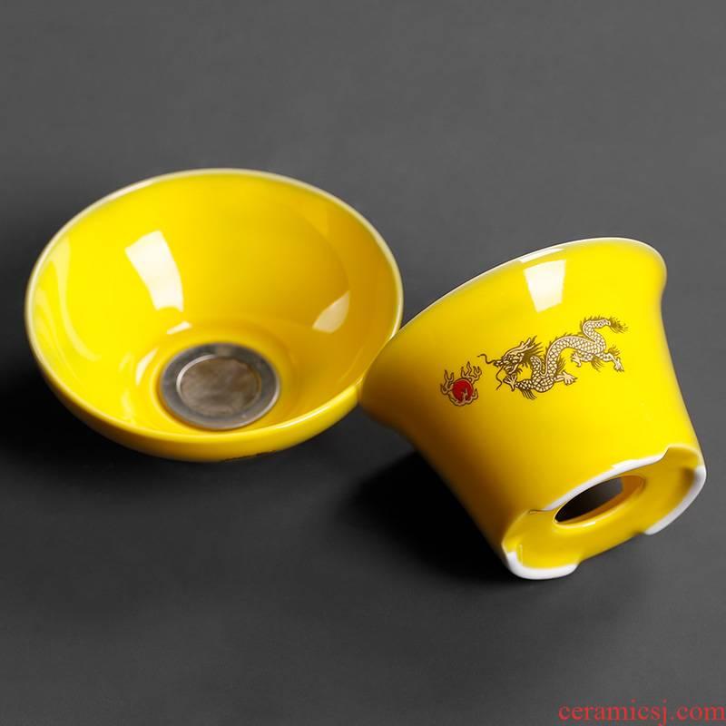 Make tea tea filter ceramic tool move creative tea household tea strainer tea accessories green dragon restoring ancient ways)