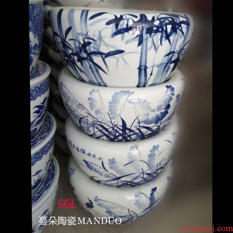 Jingdezhen hand - made jiangnan landscape ceramic porcelain expressions using large cylinder round the hall study culture vats and calligraphy cylinder