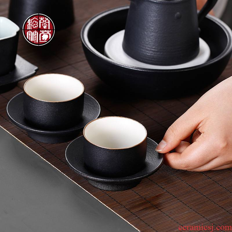 Coarse pottery cup and cup mat tea set single CPU antique Chinese style tea taking from the single master cup tea cups