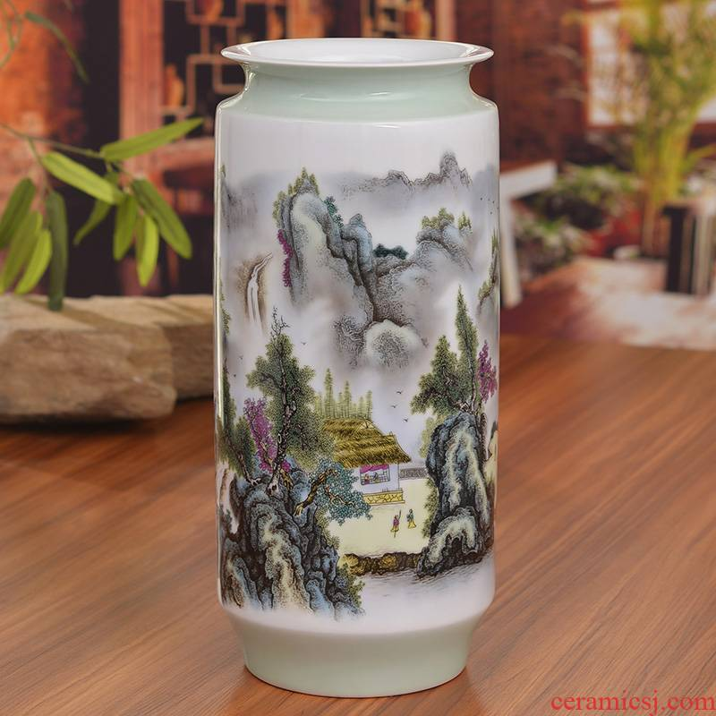 Jingdezhen ceramics pastel landscape vases, modern household act the role ofing is tasted sitting room process classical furnishing articles wedding gift