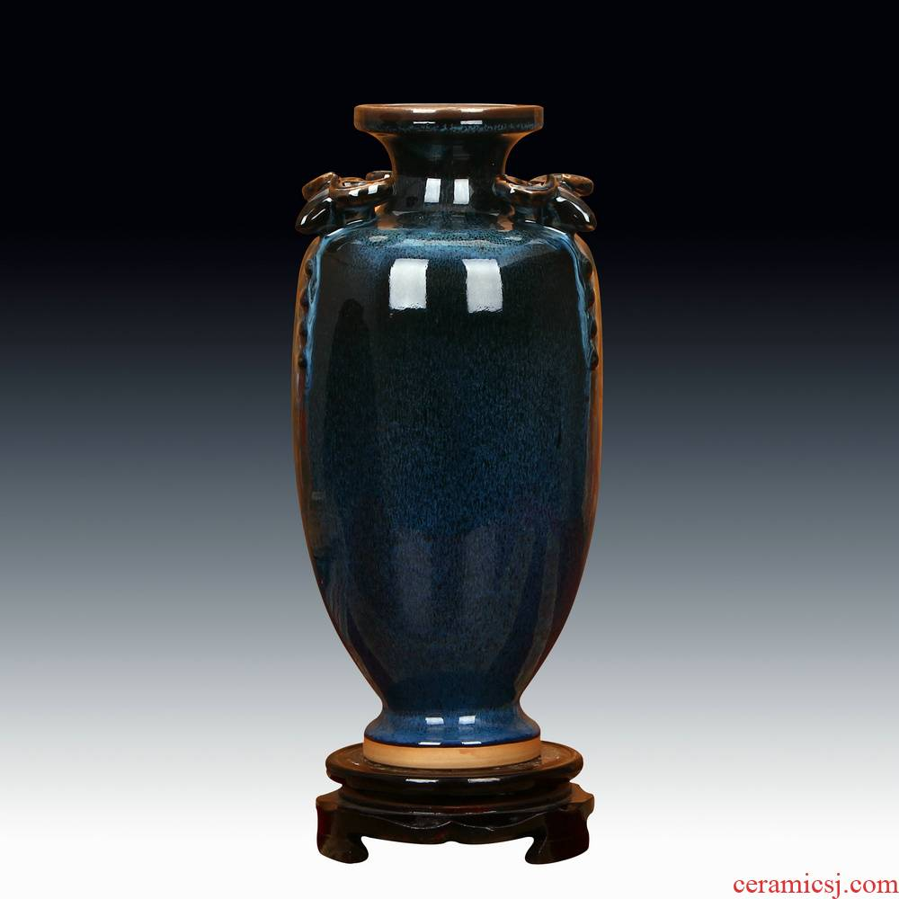 Jingdezhen ceramic vase archaize of jun porcelain up black three sheep statute of vases, modern decoration handicraft furnishing articles