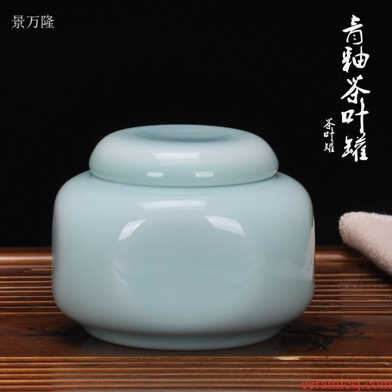 Jingdezhen ceramic seal tea pot cylinder puer tea bucket cylinder small POTS box store receives furnishing articles kunfu tea