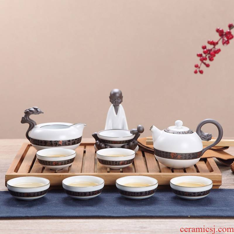 Jingdezhen new ceramic tea set suit household kunfu tea of a complete set of ice to crack the elder brother of the glaze up on the teapot