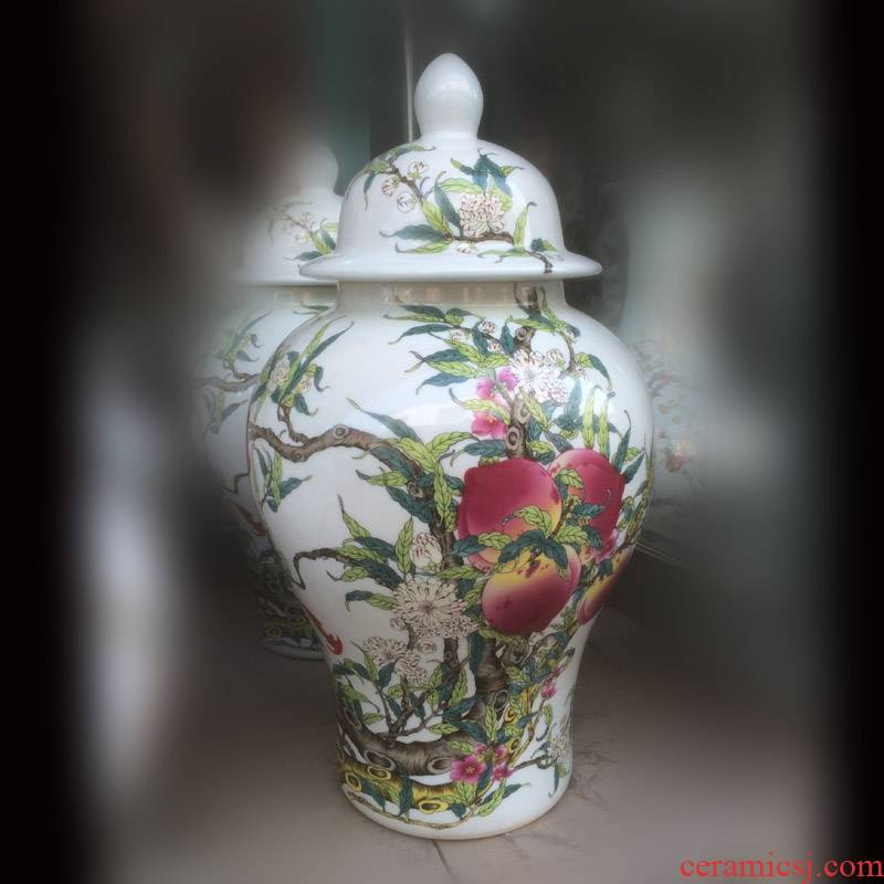 Jingdezhen imitation qianlong xiantao general porcelain pot display live general moral xiantao bat the general tank