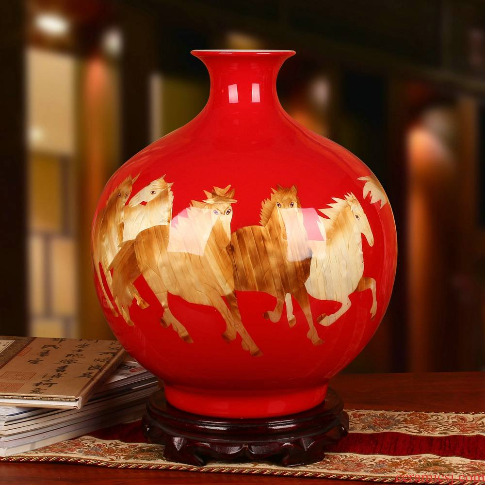 Jingdezhen ceramics China red straw success pomegranate vase opening gifts home decoration furnishing articles