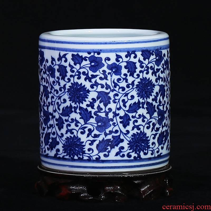Jingdezhen blue and white porcelain ceramic vase wrapped brush pot lotus flower I household study office handicraft furnishing articles