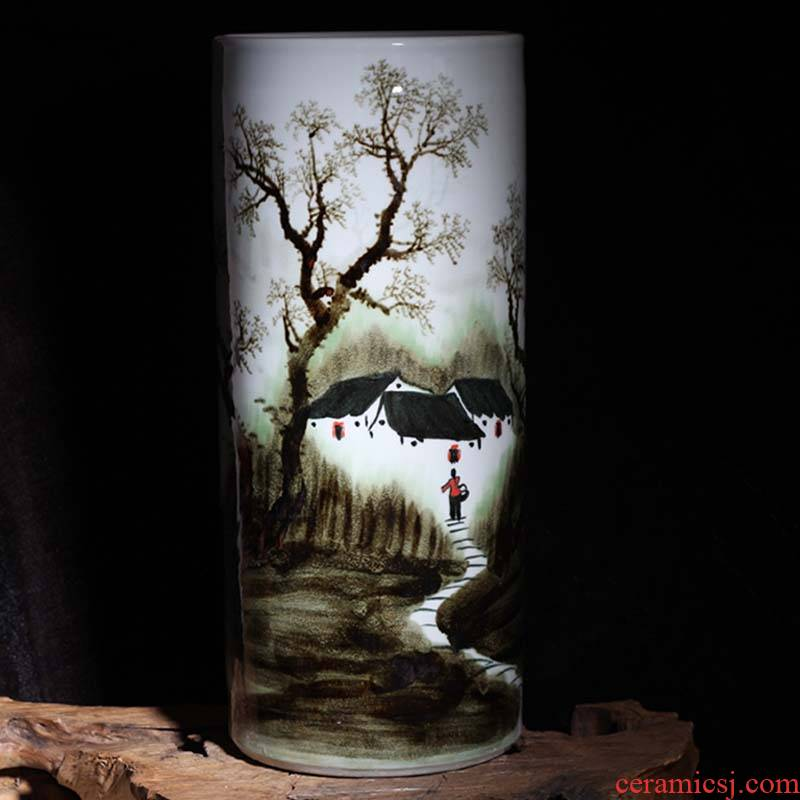 Jingdezhen painting variable landscape quiver straight big vase painting dark brown green quiver umbrella vase