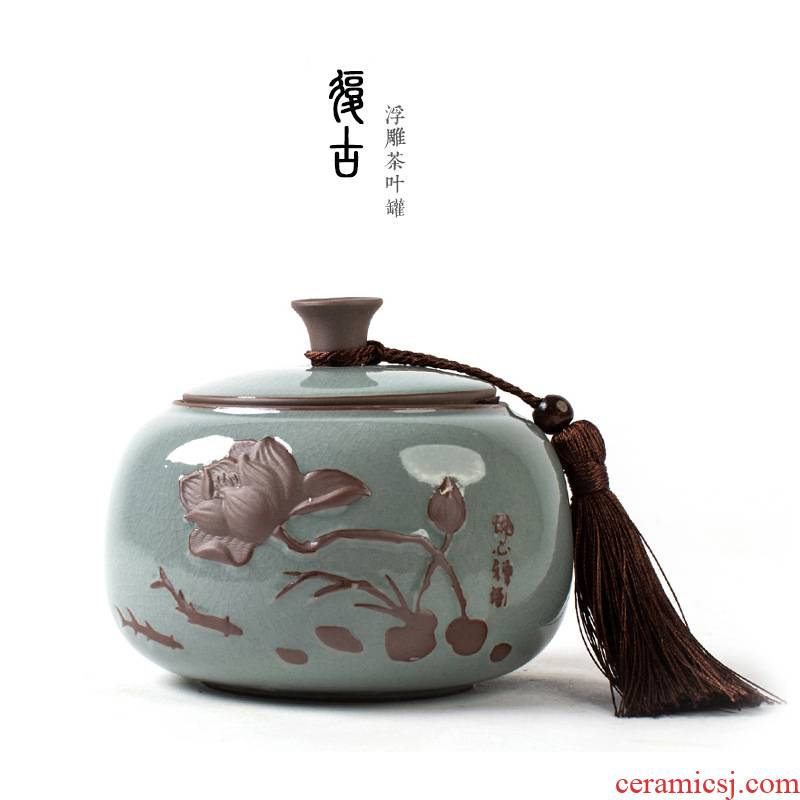The ceramic tea canister large portable after relief of pu - erh tea caddy fixings sealed as cans of household