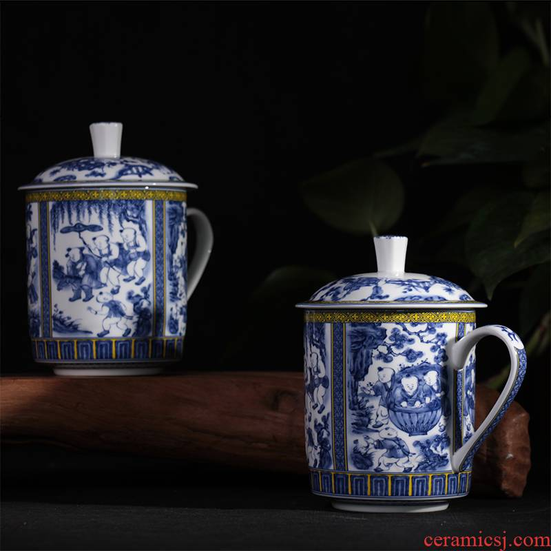 Jingdezhen ceramic cups with cover ipads porcelain cup blue boy glass office gift cup cup, the cup single CPU