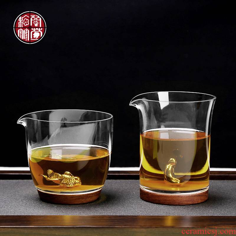 Fair more heat resistant high temperature glass tea cup tea points and tea cup rosewood base sea kung fu tea set