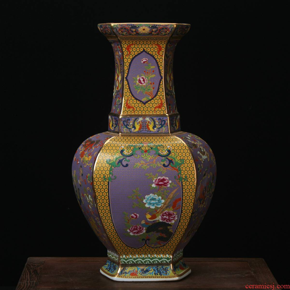 Jingdezhen ceramics enamel vase pastel colored antique furnishing articles the six - party flower vase Chinese art crafts