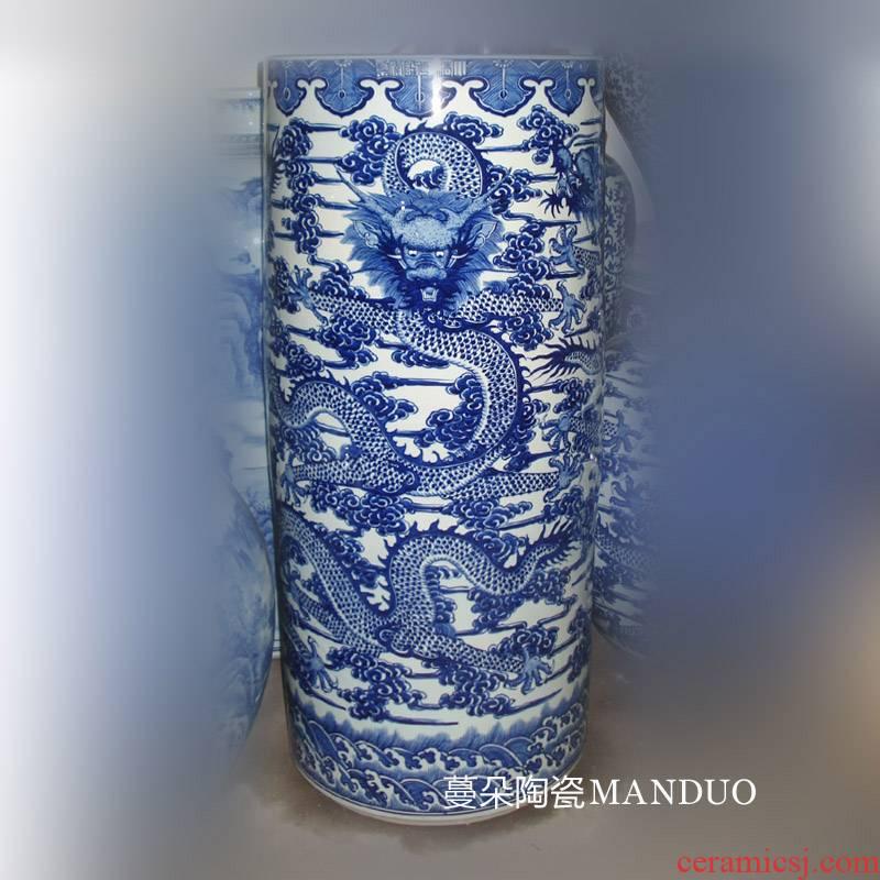 Jingdezhen porcelain hand - made dragon grain, 90-100 - cm classical simple imitation of qianlong vase straight decorative vase