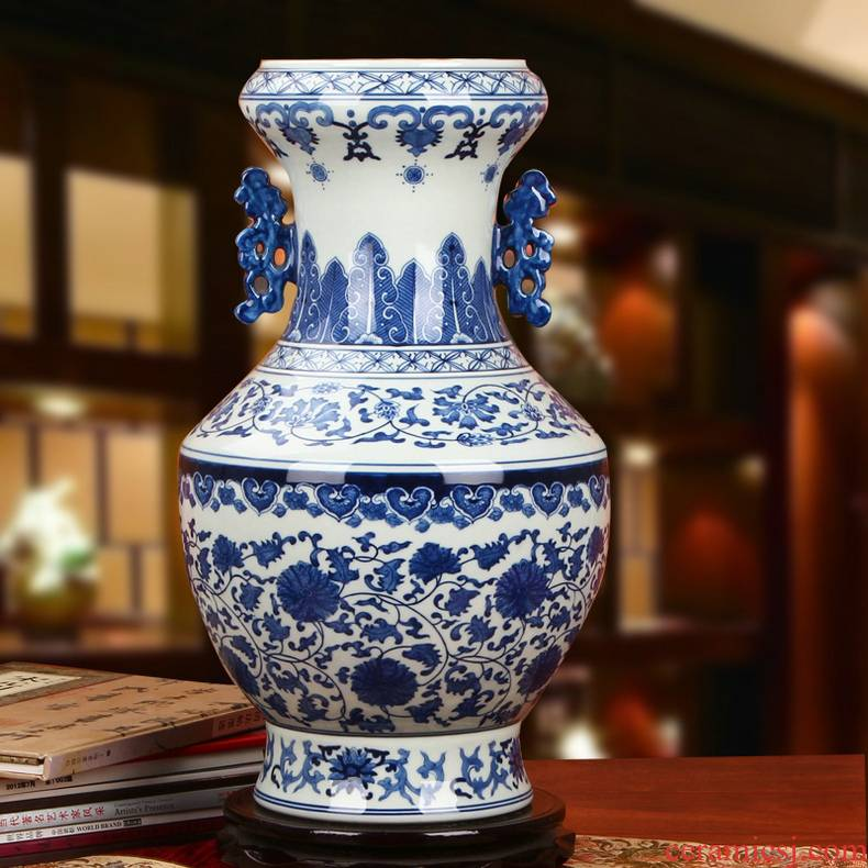 Jingdezhen ceramics hand - made flowers blue tie up branches ears admiralty big vase classical Chinese style household furnishing articles