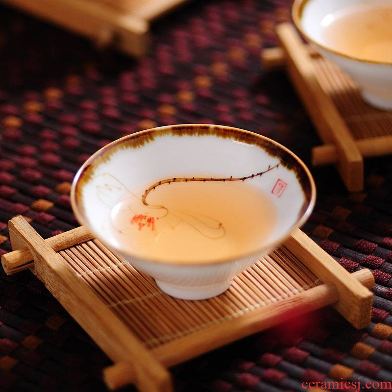 Ultimately responds to jingdezhen hand - made ceramic cups sample tea cup thin foetus single CPU master cup single hat cup kung fu tea set