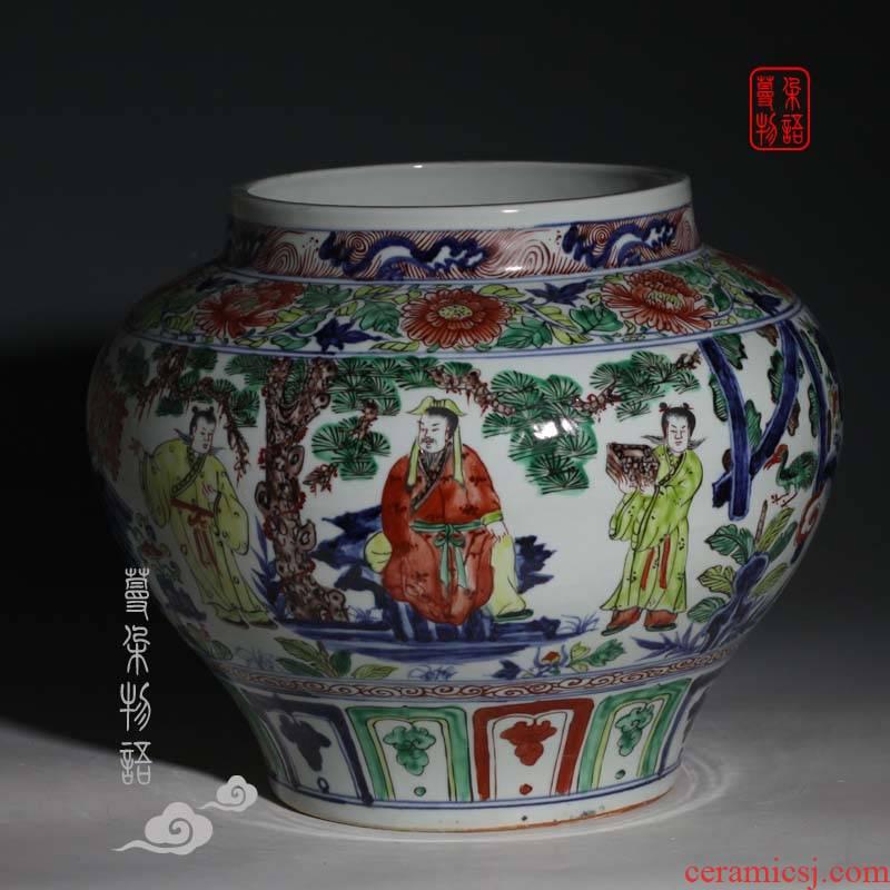 Jingdezhen big pot of three hand - made porcelain imitation of yuan blue and white porcelain jar of antique porcelain pot culture