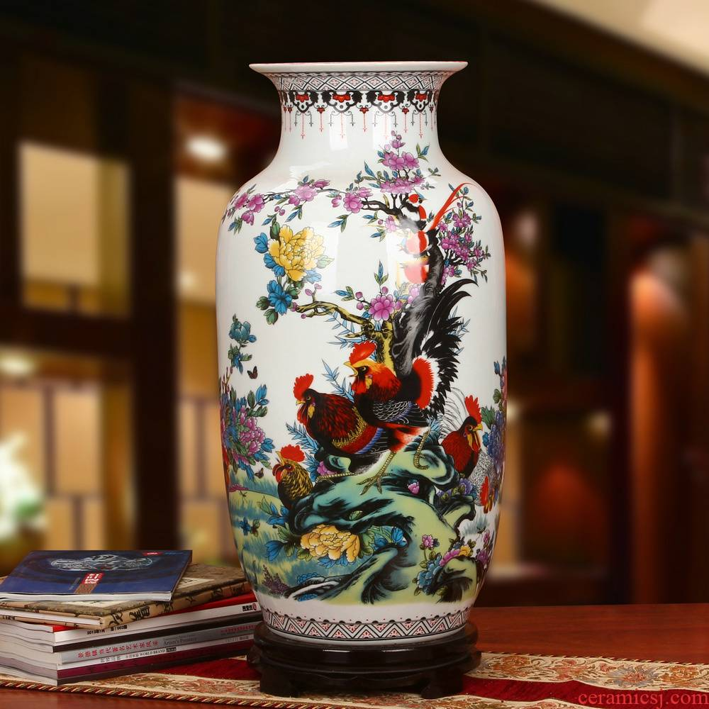 Jingdezhen ceramics powder enamel seven male for spring rooster idea gourd vase landing modern Chinese style household furnishing articles