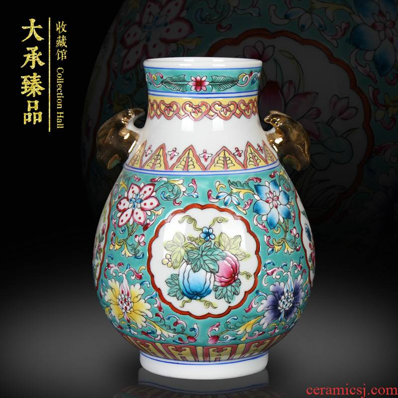 Jingdezhen ceramics, vases, antique Chinese style is classic hand - drawn pastel flowers deer head altar statute of crafts are set