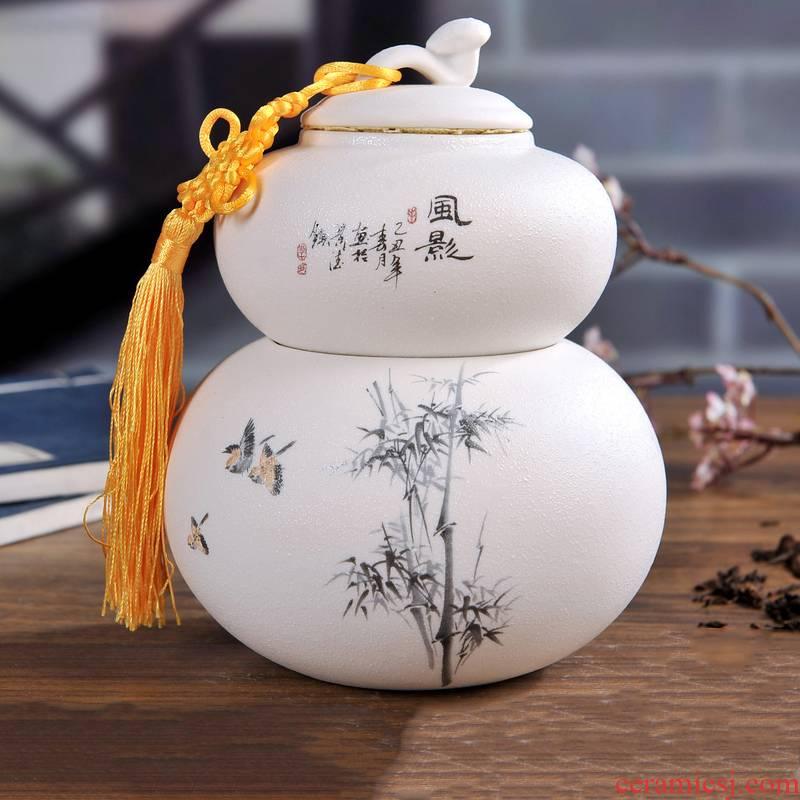 Jingdezhen ceramic pot POTS grind arenaceous caddy fixings tea tea tea box sealed jar double box