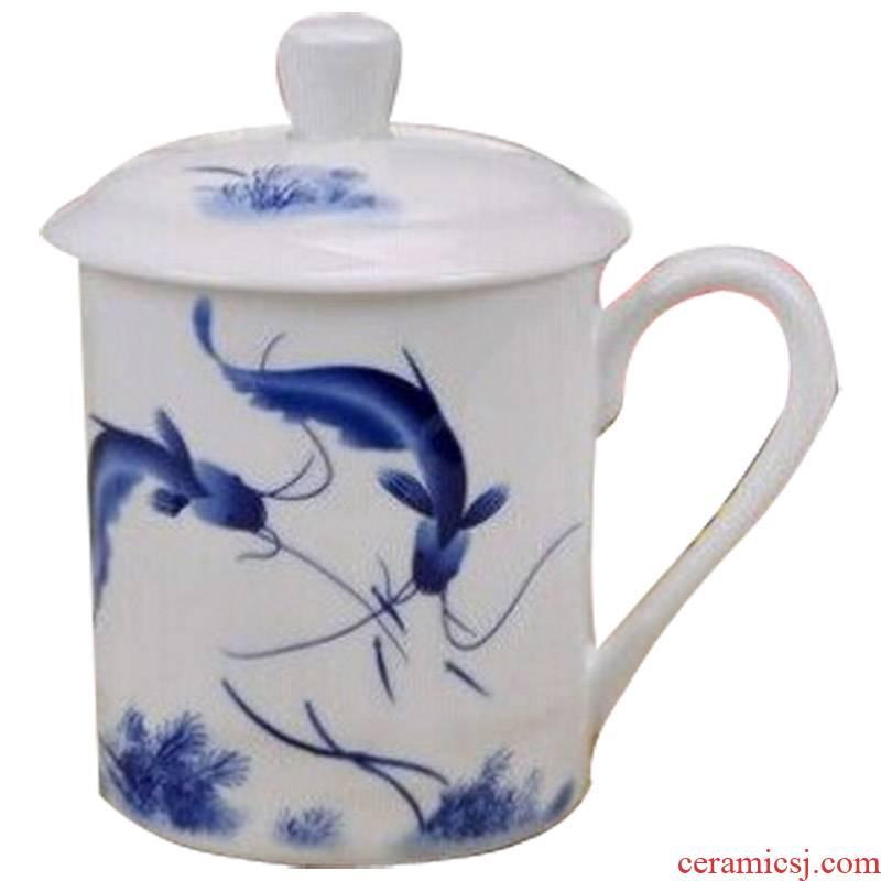 Jingdezhen ceramic cups ipads porcelain cup with cover office cup household individual cups cup 500 ml water