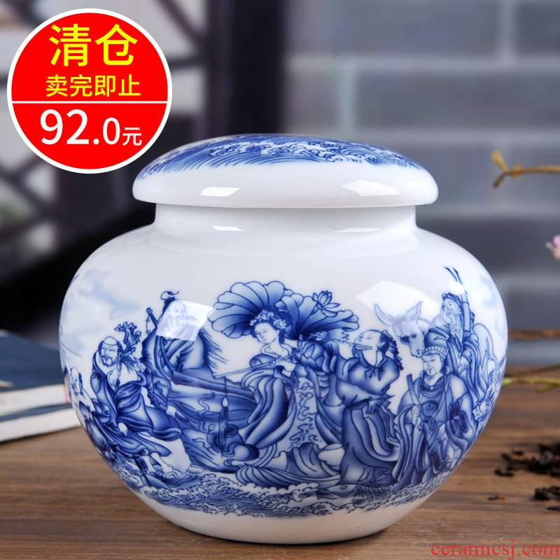 Jingdezhen blue and white porcelain ceramic tea pot home portable tea storage tanks seal pot and POTS