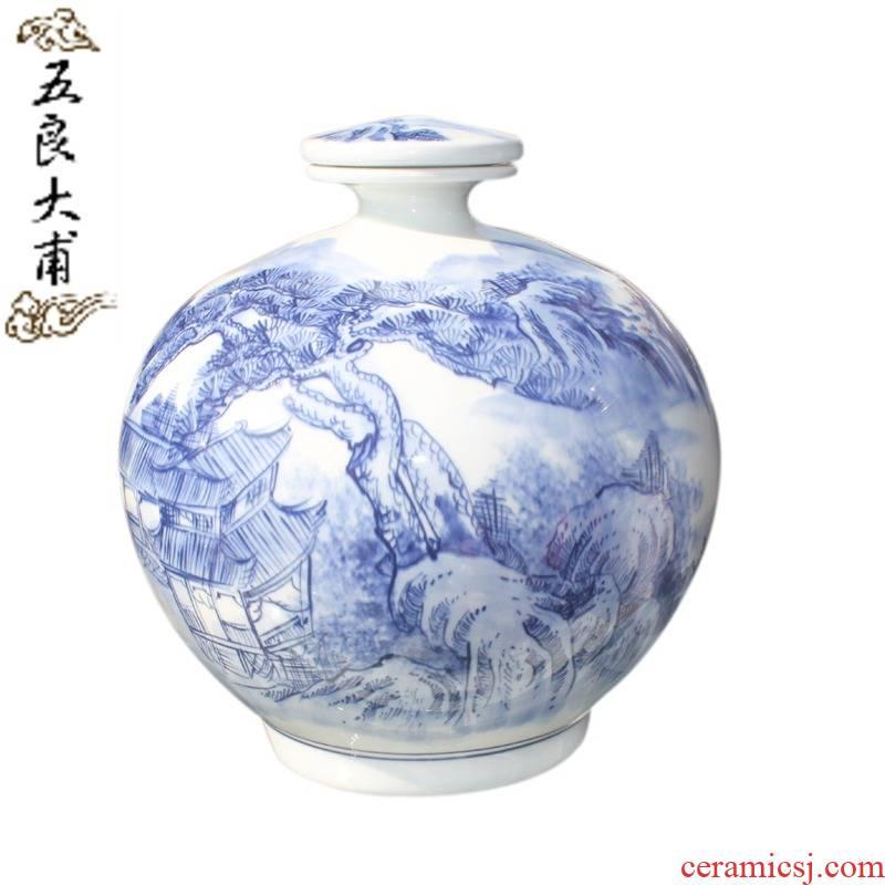 Jingdezhen ceramic wine bottle bottle decorative bottle bottle art landscape 5 jins