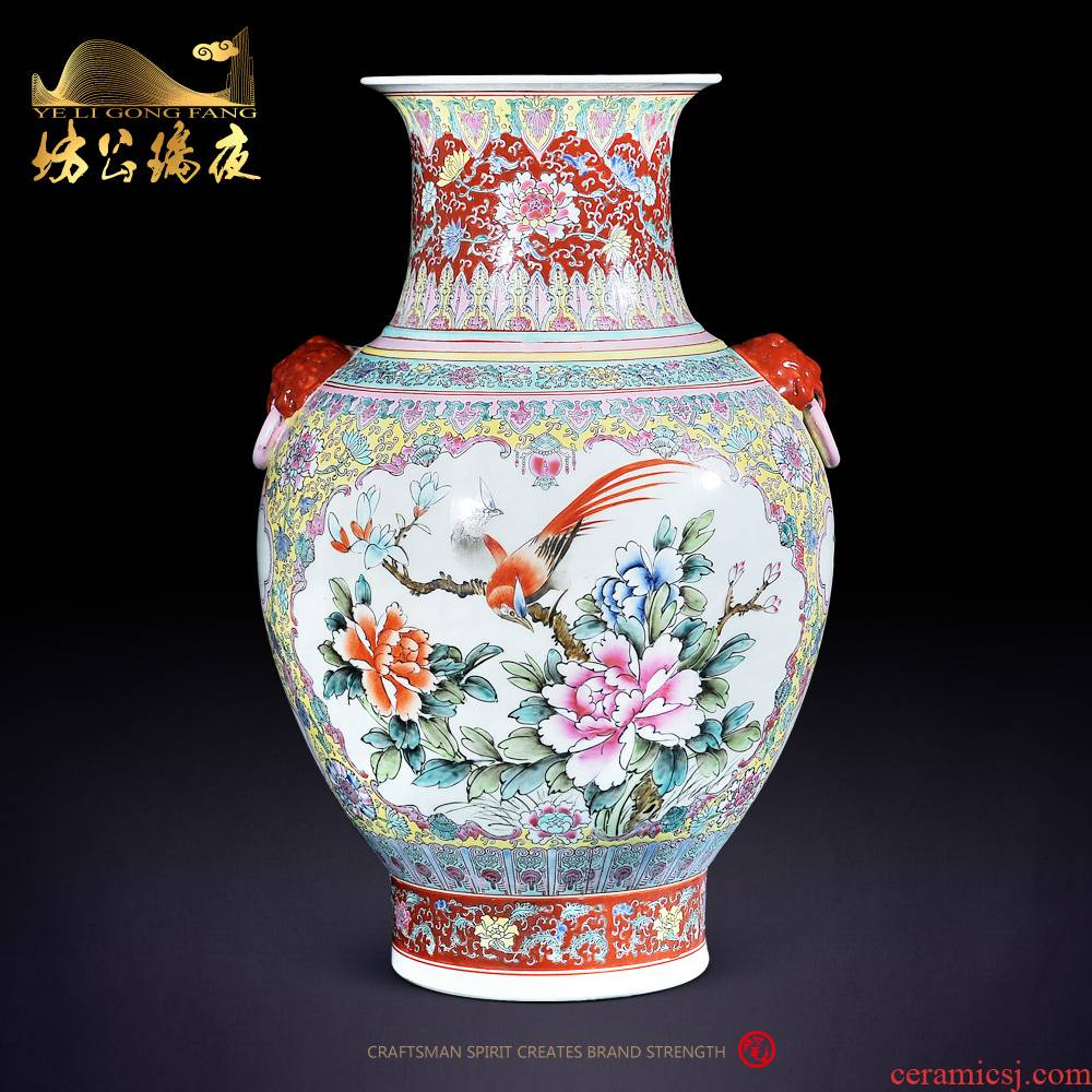 Jingdezhen ceramics furnishing articles archaize pastel open hall of flowers and birds home sitting room ark adornment ear vase