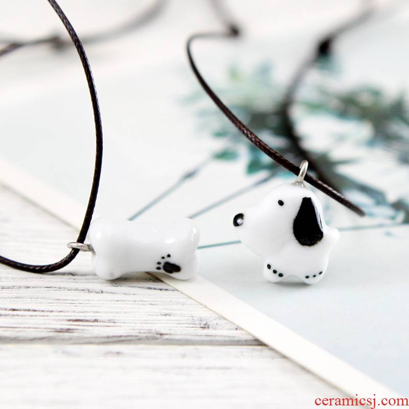 QingGe small express super mini puppy dog 】 【 of small pure and fresh and checking ceramic necklace pendant market. I supply of goods