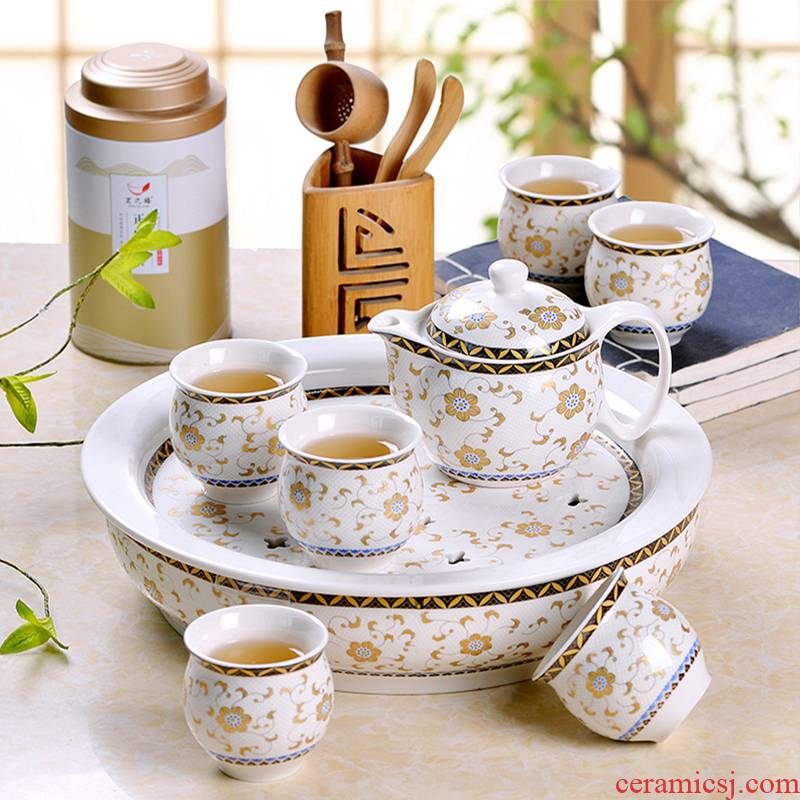 Jingdezhen tea set simple household of Chinese style kung fu tea sets tea tray cup teapot tea set with a gift